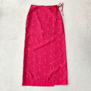 Vintage 90s Express Silk Floral Wrap Maxi Skirt
